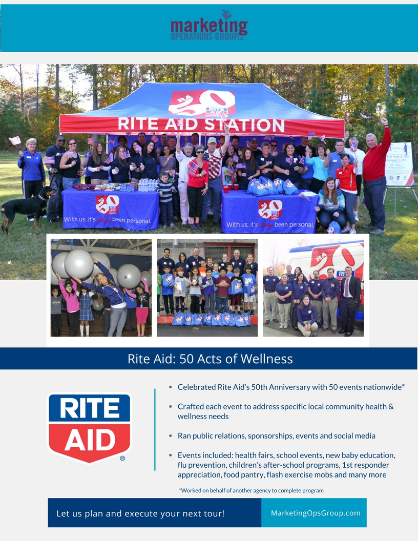 Rite Aid 50th anniversary wellness tour, experiential marketing